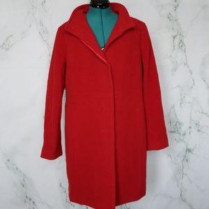 Talbots Red Wool Blend Pea Coat